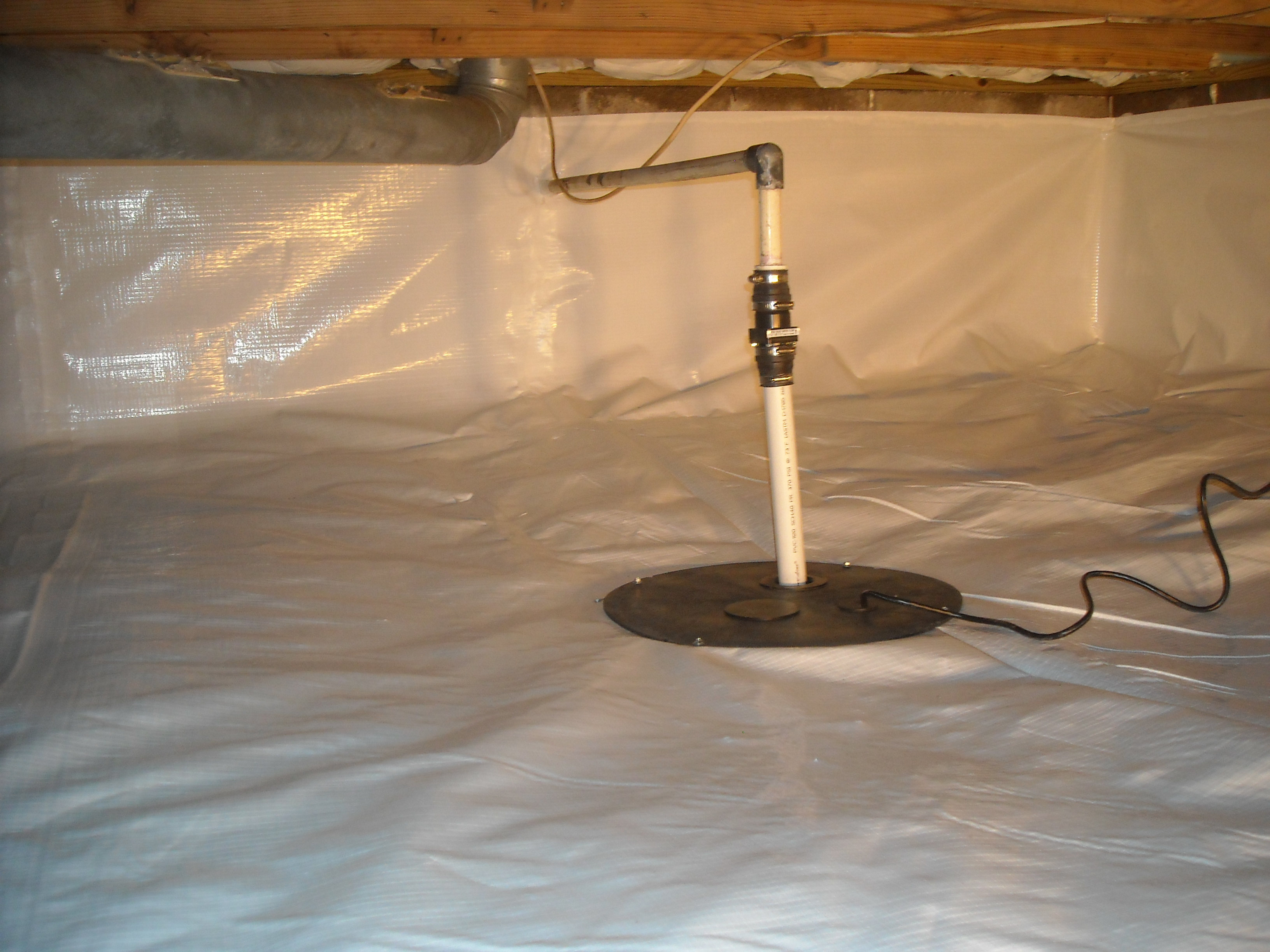 Crawl Space Sump Pump Installed